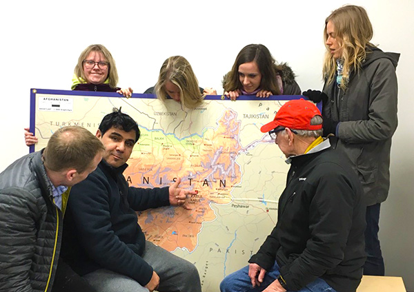 CU Church team learns about SOZO's work in Afghanistan.