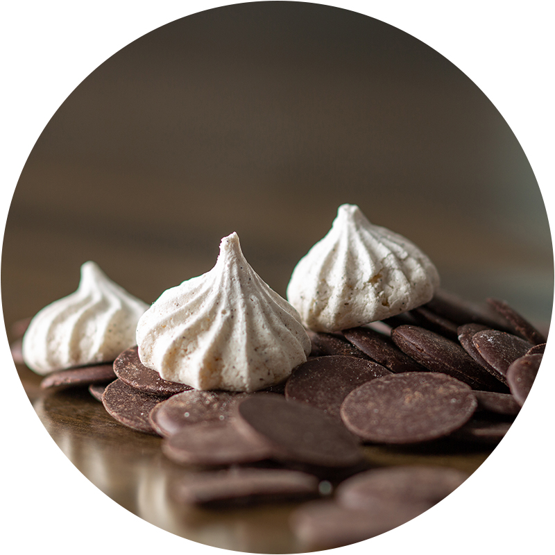 Chocolate Chip - Our Chocolate Chip kisses use chips made from organic unsweetened chocolate liquor which is 100% cacao. It is ethically traded, Equatorial Rainforest-grown and Hispaniola variety. A rich, chocolate flavor.