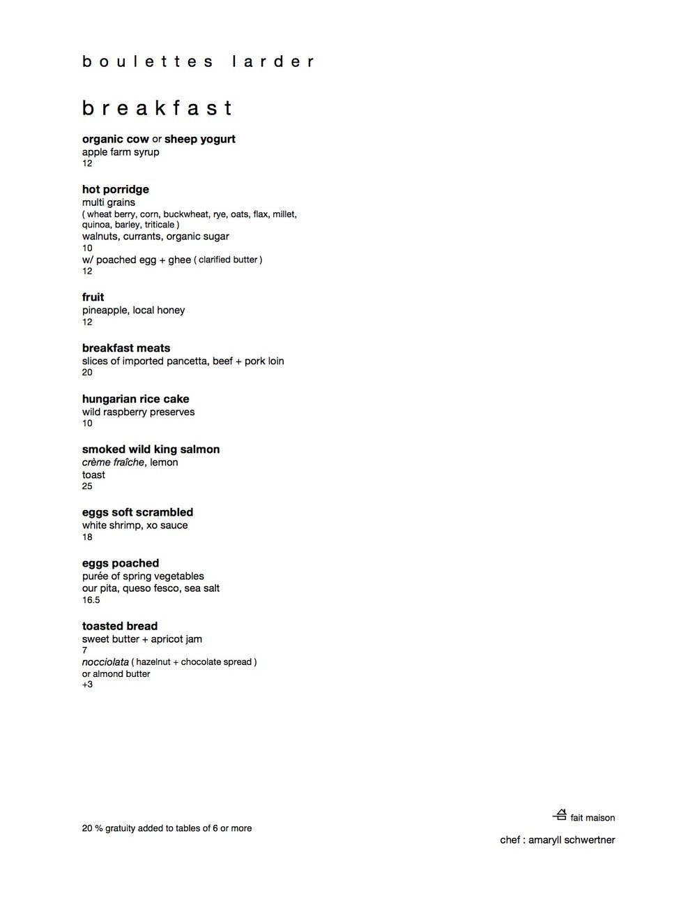 SAMPLE BREAKFAST MENU