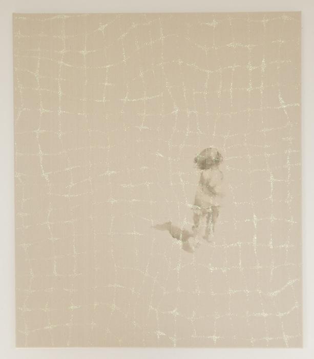 distant silence - run   acrylic, glitter on canvas  70 x 60  2013