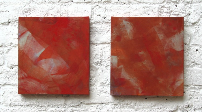 red   mineral and seashell pigment, nikawa , Japanese paper on wood panel   2004