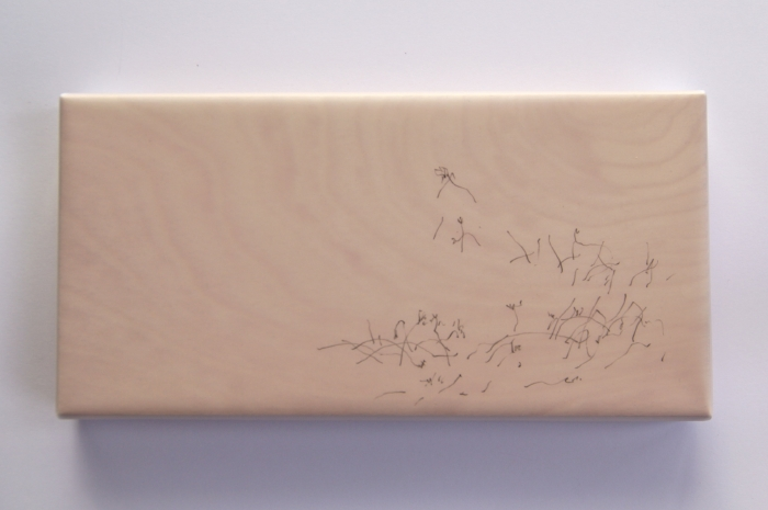 listening to the silence   pencil, drafting film, wood panel   15 x 30   2017