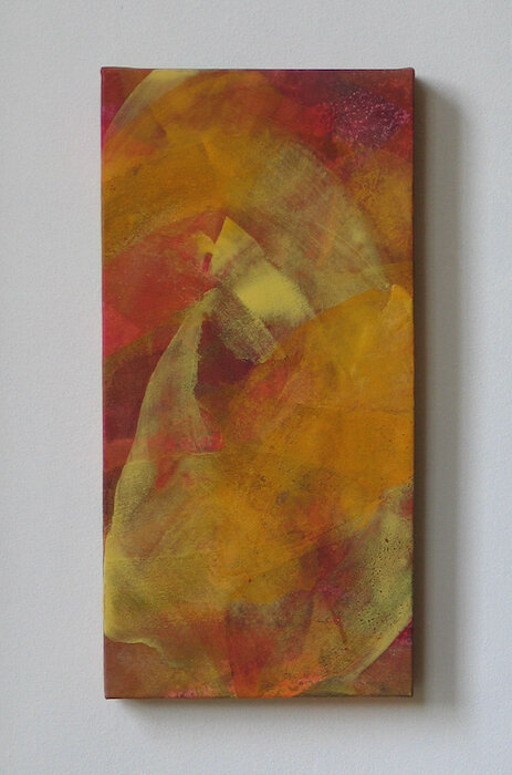 Oct Ⅱ   mineral pigment, Japanese paper, wood panel  2002
