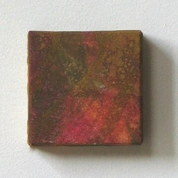 cube Ⅰ   mineral pigment, Japanese paper, wood panel     8 x 8     2002