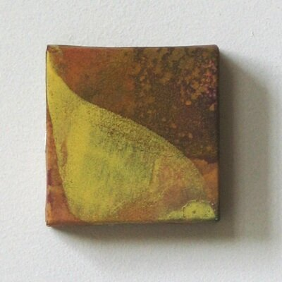 cube Ⅱ   mineral pigment, Japanese paper, wood panel   8 x 8   2002