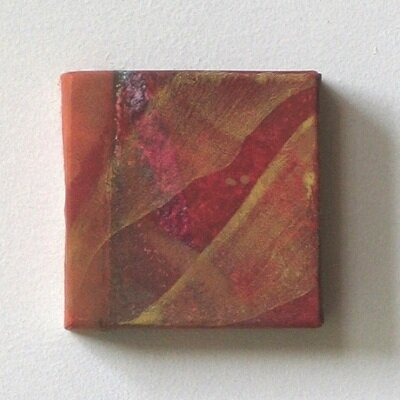 cube Ⅲ   mineral pigment, Japanese paper, wood panel     8 x 8     2002