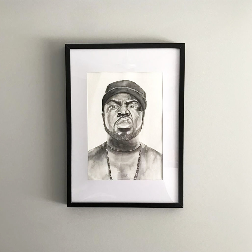 An A3 watercolour portrait of Ice Cube on archival paper.