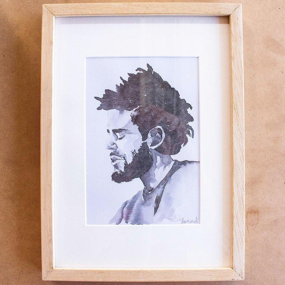 An A5 watercolour portrait of J Cole on archival paper.