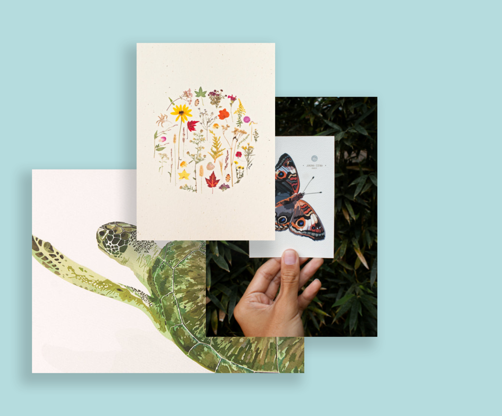 Giovanna Andrea Rodríguez - - Wall Prints- Cards and Thank You Notes- Tote Bags- Tattoos- PendantsGiovanna creates beautifully detailed nature art prints, bookmarks, stickers and other paper goods in addition to jewelry and home décor. Visit her Etsy store