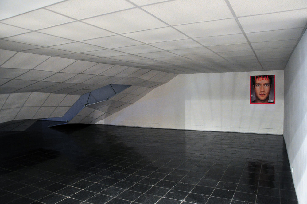 Dennis McNulty, The Crash, 2011 with FACETIME , 2011;suspended ceiling elements, tiles and ratchet straps; dimensions variable; and poster, 33 x 40 inches;courtesy of the artist and Green On Red Gallery, Dublin; commissioned by Bureau for Open Culture