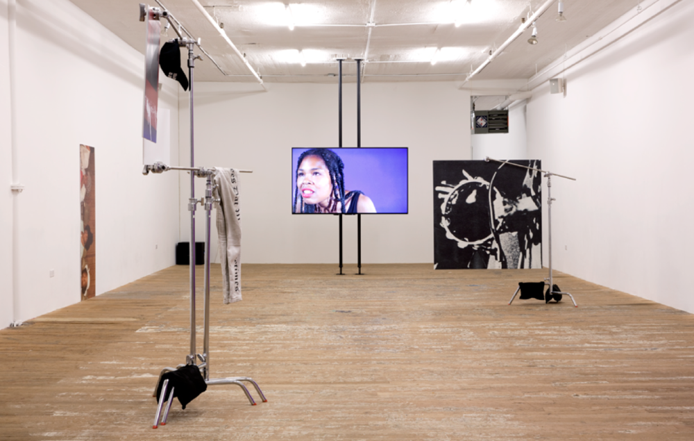 Martine Syms: Vertical Elevated Oblique , September 17–November 1, 2015. Installation view. Bridget Donahue, New York. Photo: Marc Brems Tatti.