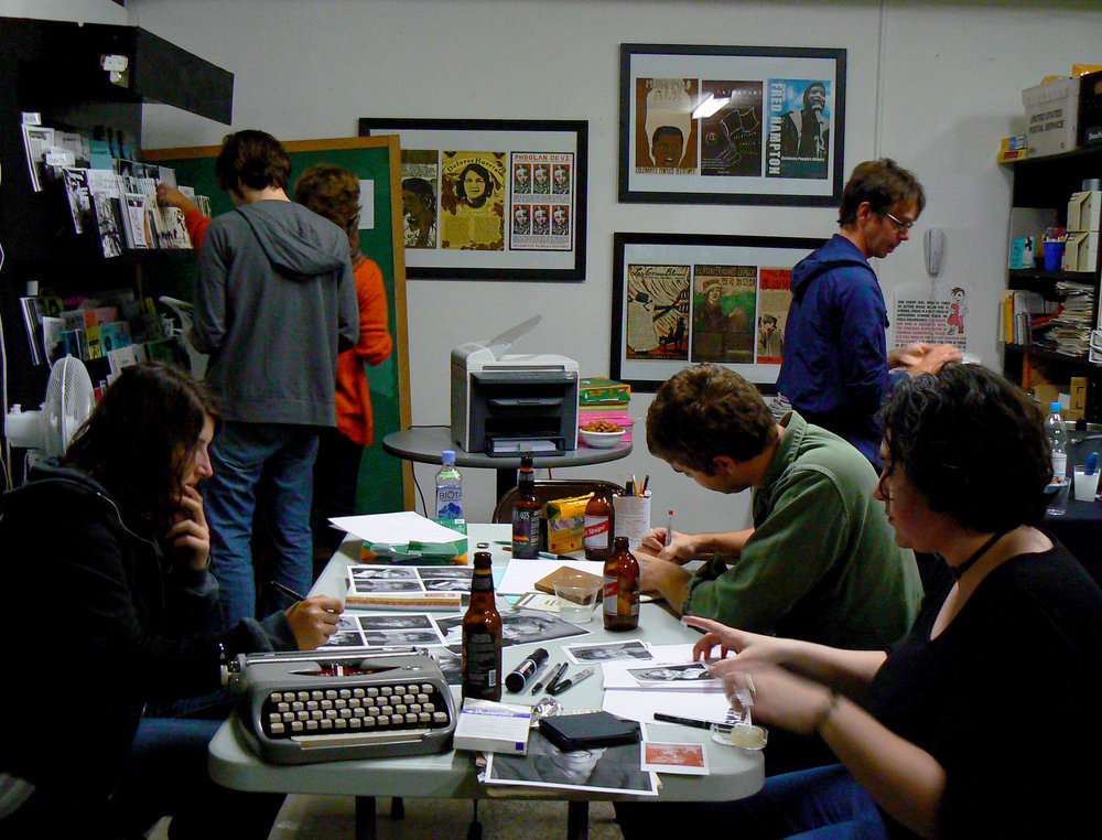 Zine Summit Workshop; discussion about zines, as well as reading and perusing collections of local zines at Sporeprint Infoshop