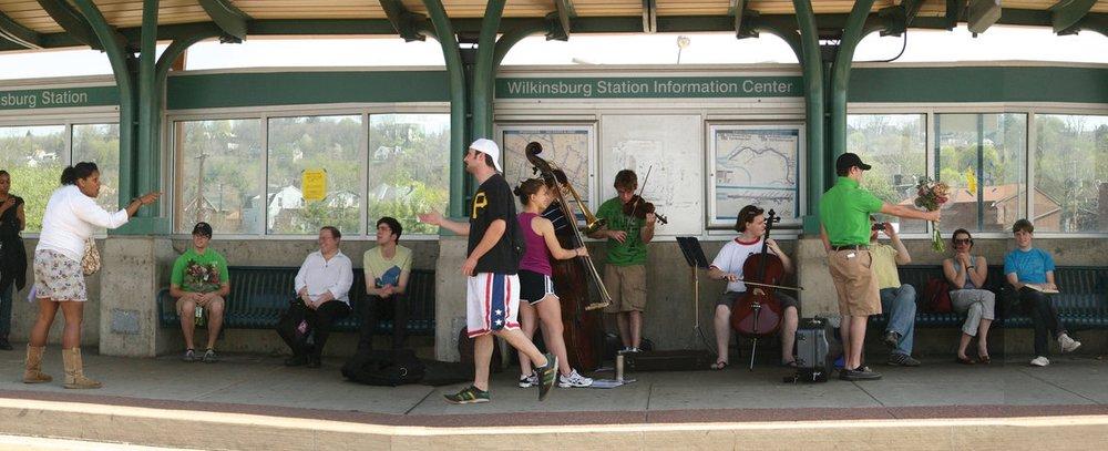 Dawn Weleski,  Bus Stop Opera , 2006-ongoing;public performances take place along Pittsburgh area transit routes