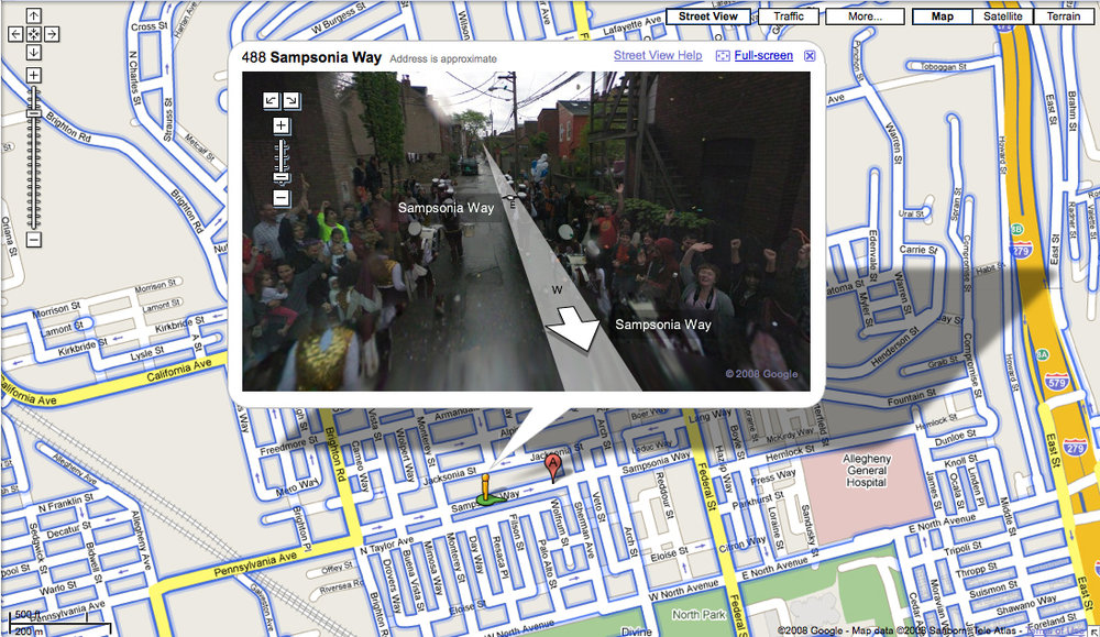Robin Hewlett and Ben Kinsley, Street With A View , 2008;introduces fiction, both subtle and spectacular, into the doppelganger world of Google Street View