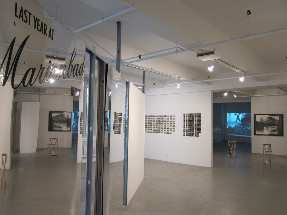 Last Year at Marienbad redux with work by Tacita Dean in the distance and photographs by David Maljković reflected in The Marienbad Sessions panels
