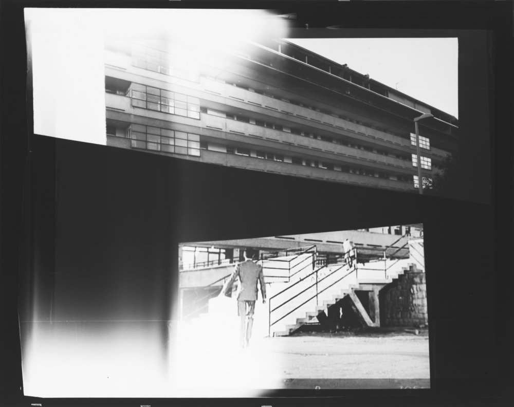 David Maljković, Recalling Frames, 2010; black & white photograph, 42 1/2 x 55 inches (frame size); courtesy of the artist and Metro Pictures, New York