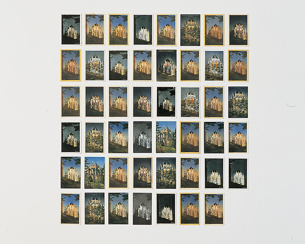 Tacita Dean,  Washington Cathedral , 2002; 130 found postcards, each 5 1/2 x 3 1/2 inches (detail); courtesy of the artist and Marian Goodman Gallery, New York