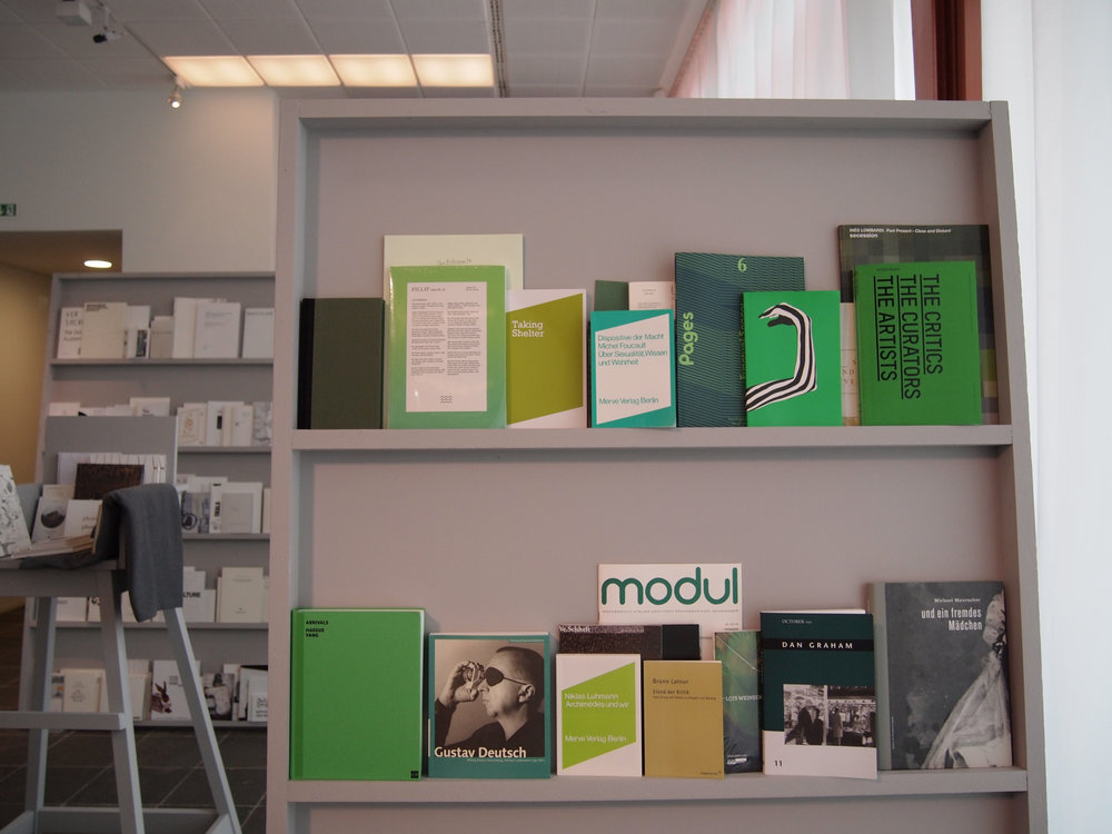 An installation of Bureau for Open Culture publications at Salon für Kunstbuch 21er Haus, Vienna
