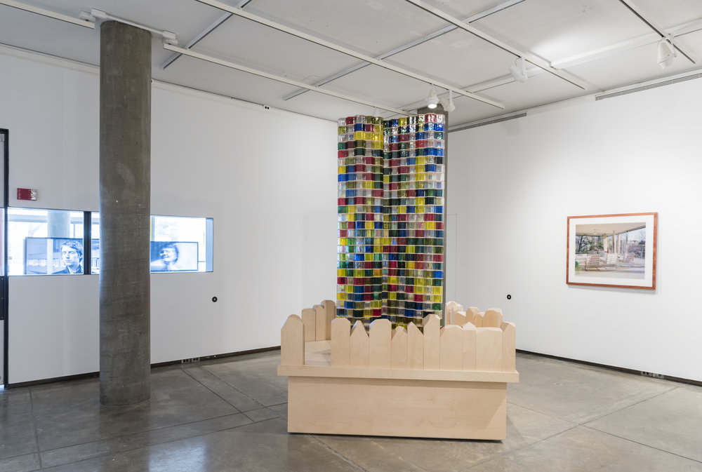 Josiah McElheny,  Bruno Taut's Monument to Socialist Spirituality (After Mies van der Rohe) , 2009. Handblown and molded glass modules, wood, and hardware. 105 3⁄4 × 75 × 55 inches. Courtesy the artist and Andrea Rosen Gallery, New York.  In the background, Thomas Ruff,  w.h.s. 04 , 2001. Chromogenic print with Diasec. 70 7⁄8 × 94 inches, Edition 1 of 5. Courtesy of David Zwirner, New York and London.