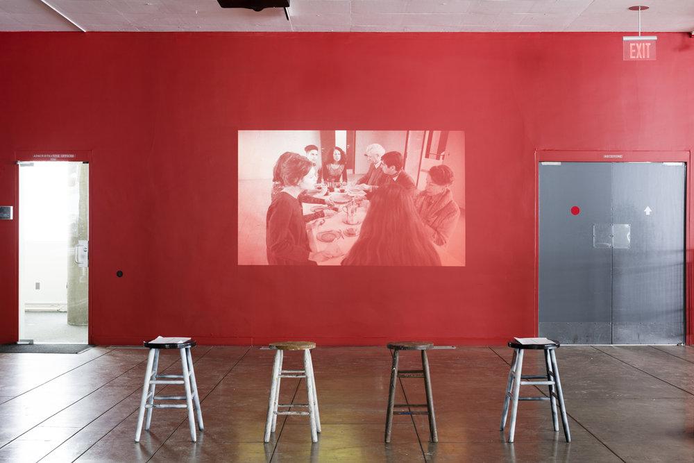 Ulla von Brandenburg,  Singspiel , 2009. Installation view. Black-and-white 16 mm film, sound. 14:34 minutes. Courtesy the artist and Art: Concept, Paris.