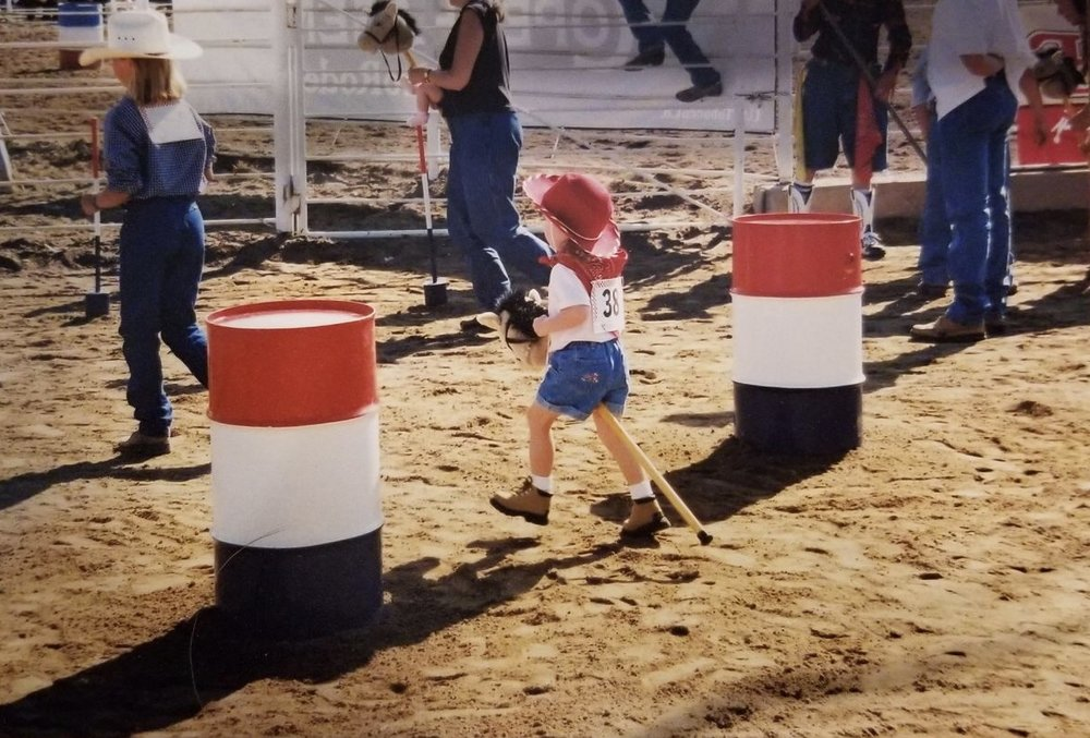 A picture from the same day I won my mutton busting event when I was 7 years old!