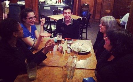 Out to eat with fellow students and our professor, Kathleen Browne. Photo by Tabitha Ott.