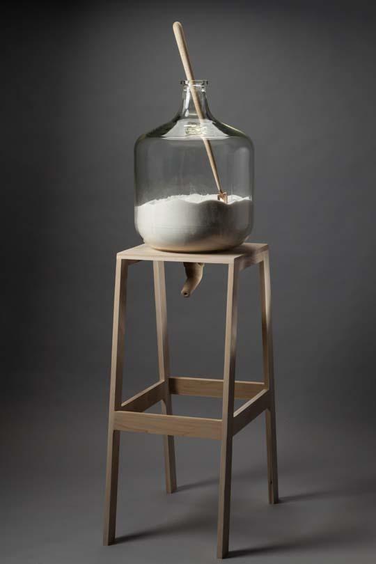 "Self Service , poplar, bronze, sugar, found jar, 60""x24""x 16"", 2014 (photo by Gordon Humphries)"