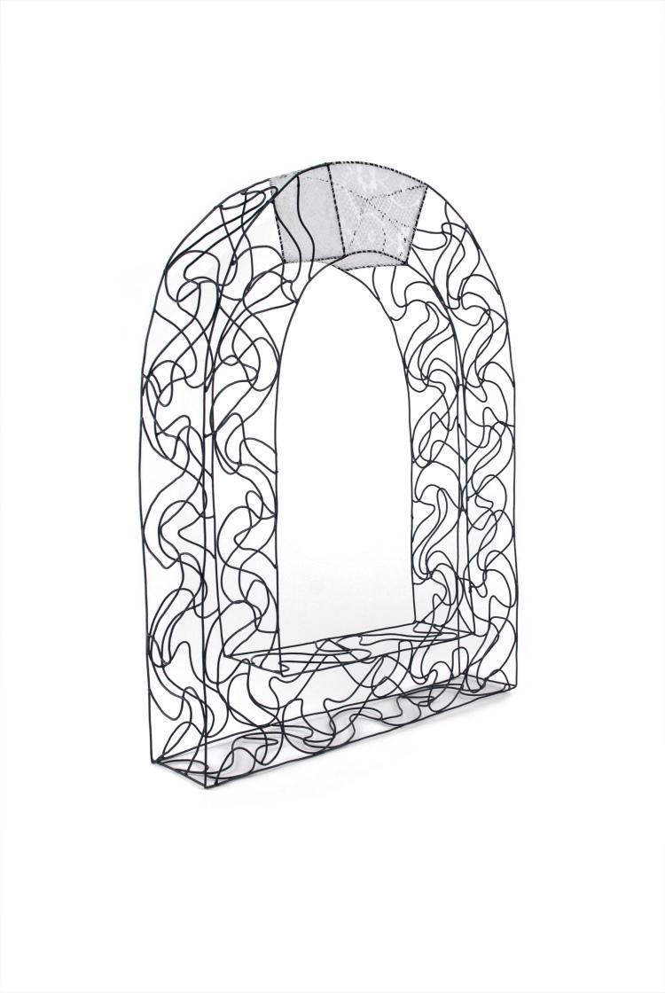"Iron Gate Necklace , steel, powder coat, Scranton lace, thread , 25"" x 15"" x 4"", 2015 (photo by Lynne Bowman Caverns)"