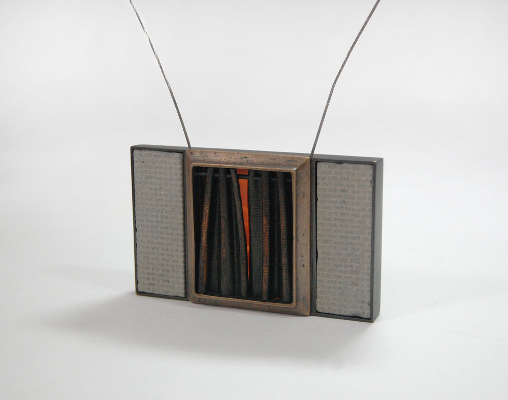 "Figure 10:  Cedarhurst,  cast bronze, nugold, copper, steel cable, concrete, silicone, 3 1/2"" x 2 1/4"" x 3/4"""