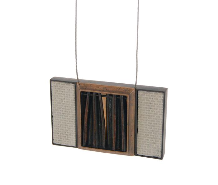"""Cedarhurst,  cast bronze, brass, copper, steel cable, concrete, silicone, 3½"""" x 2¼"""" x ¾"""", 2014"""