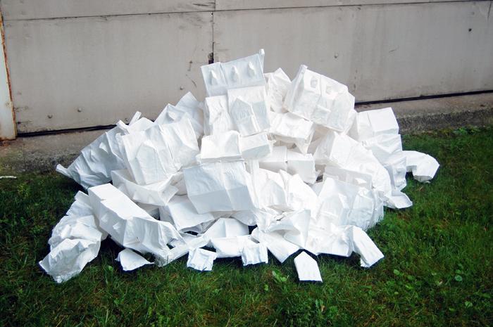 "Cul-de-Sacs,  cotton, flour, water, 7"" x 9½ to 14"" x 5½"" (individual houses), 2012-2013"