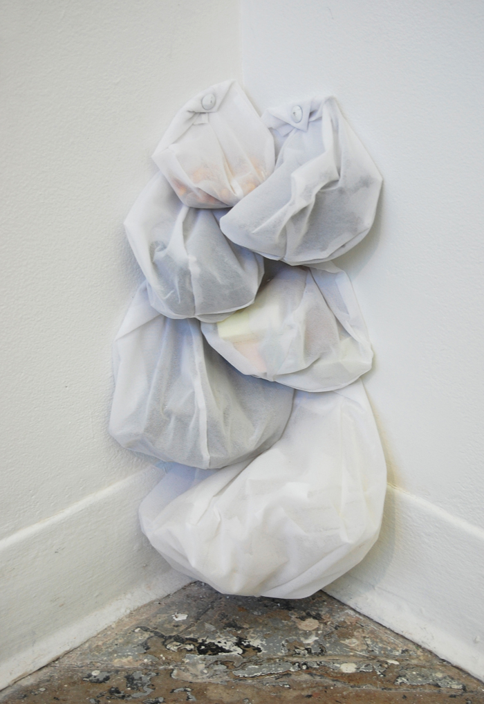 """Detritus,  organza, upholstery tacks, unused remnants of other works, 20"""" x 12"""" x 8"""", 2012-2013"""
