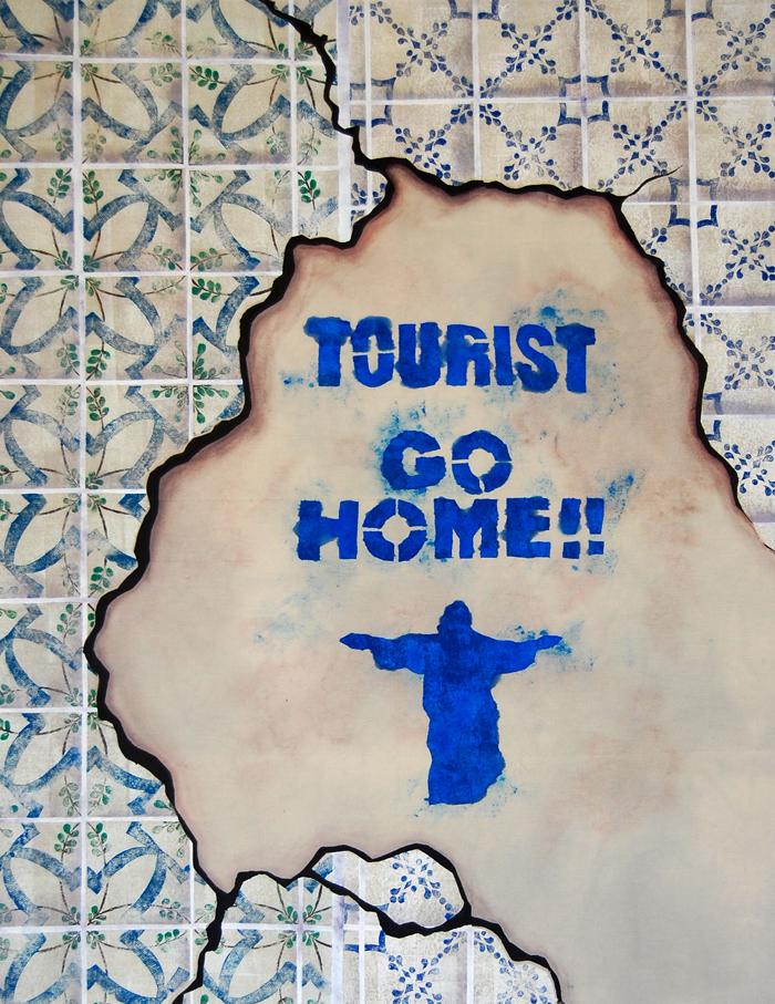 "Tourist Go Home,  surface design on cotton, 24"" x 36"", 2010"