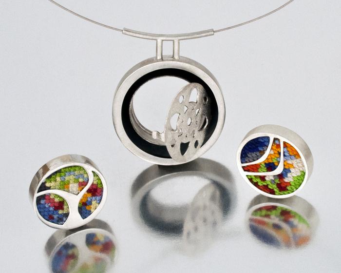 "Hoop,  sterling silver, cotton thread, acrylic sheet, 2¼"" x 1¾"" x ½"", 2010"