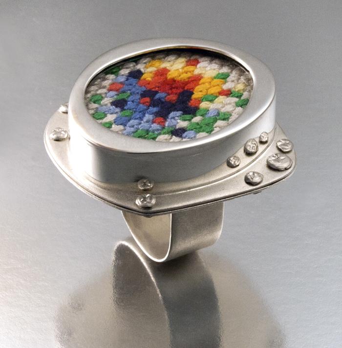 "X-Stitch,  sterling silver, cotton thread, acrylic sheet, 1¼"" x 1¼"" x 1"", 2010"