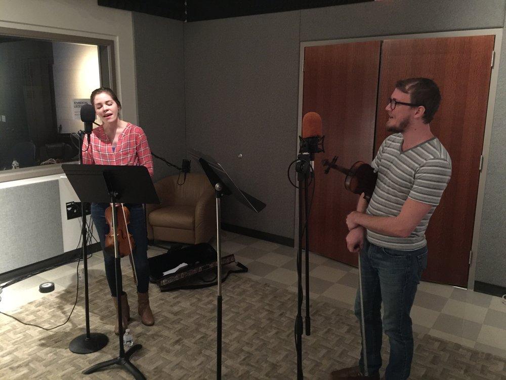 Kathryn Fox and Hunter Dahlen in studio at WGCU.