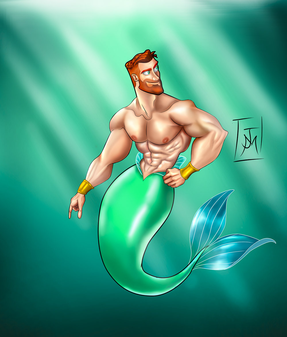 Sexy Merman Illustration