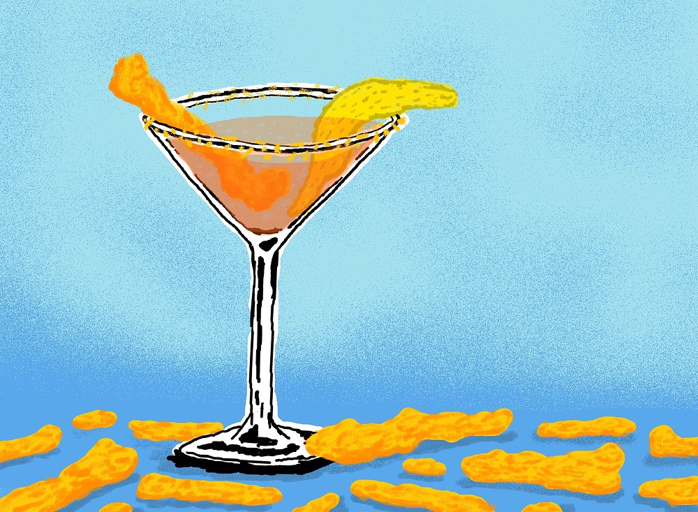 Cheeto Jesus  3 ounces Tang 1 ounce Sprite Cheeto dust for rim of glass Garnish with Cheetos and a lemon peel  Here's a nonalcoholic cocktail designed for the child in everyone—particularly our elected officials—and is perfect for insolent youngsters and immature adults. Rim a martini glass with lemon juice, then crushed Cheetos. Blend the Tang with ice, like a smoothie, and pour into the glass. Top with Sprite for fizz. Garnish with plenty of Cheetos and the lemon peel. Excess is encouraged.