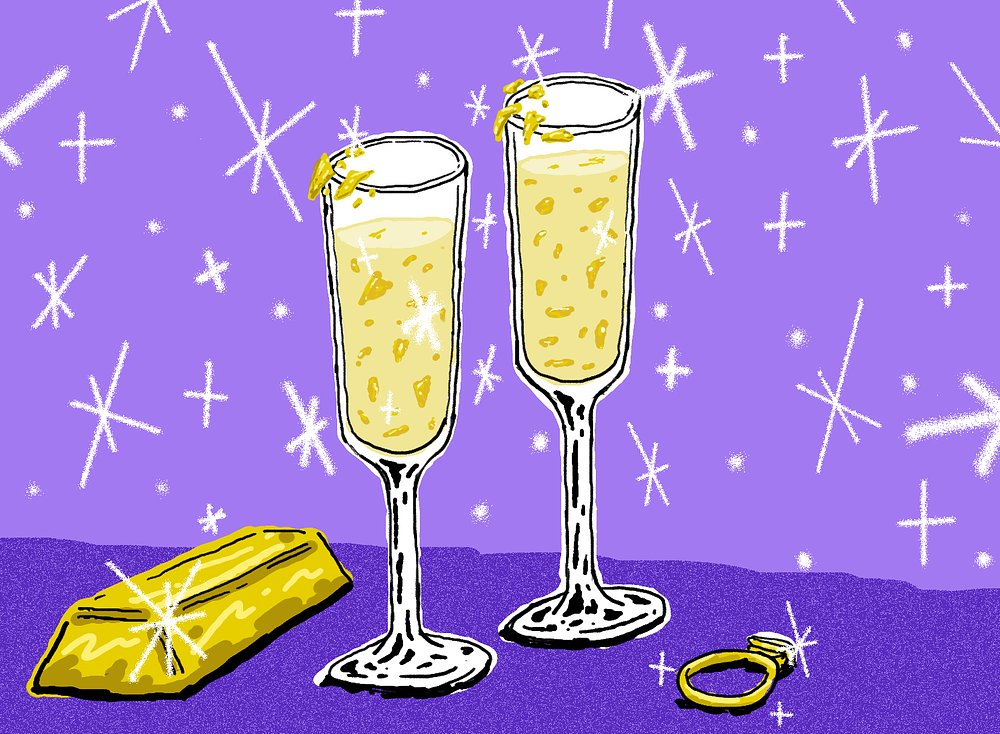 Barron's Playplace  1 ½ ounces Stolichnaya Gold vodka 1 ½ ounces Patron Gold tequila 1 ounce Goldschläger 24 carat gold flake  This over-the-top, all-gold cocktail draws its inspiration from the decor at Trump's opulent penthouse in Manhattan. We can't promise this drink actually tastes good, but as they say, appearances are everything. Mix all ingredients and serve in a chilled champagne flute or the most ornate glass you have on hand.