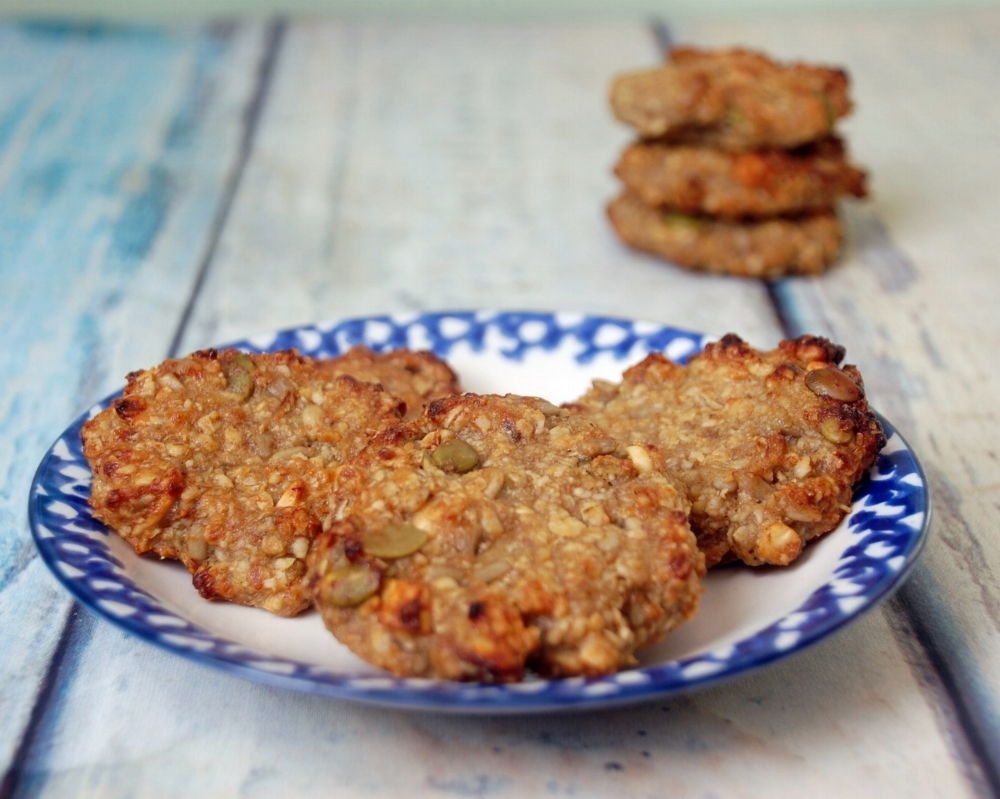 Healthy Oat and Banana Biscuits with Pumpkin seeds and Sunflower seeds