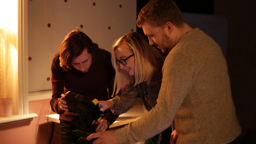 Beth Bayes pictured with DOP Gryff Bevan (Left) and Camera Assistant Jordan Wright (Right) on the set of  Friend Request .