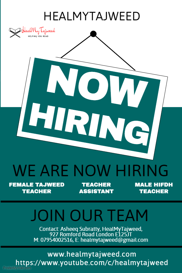 HealMyTajweed Is Hiring Teachers - Check us out on YouTube before you contact us!