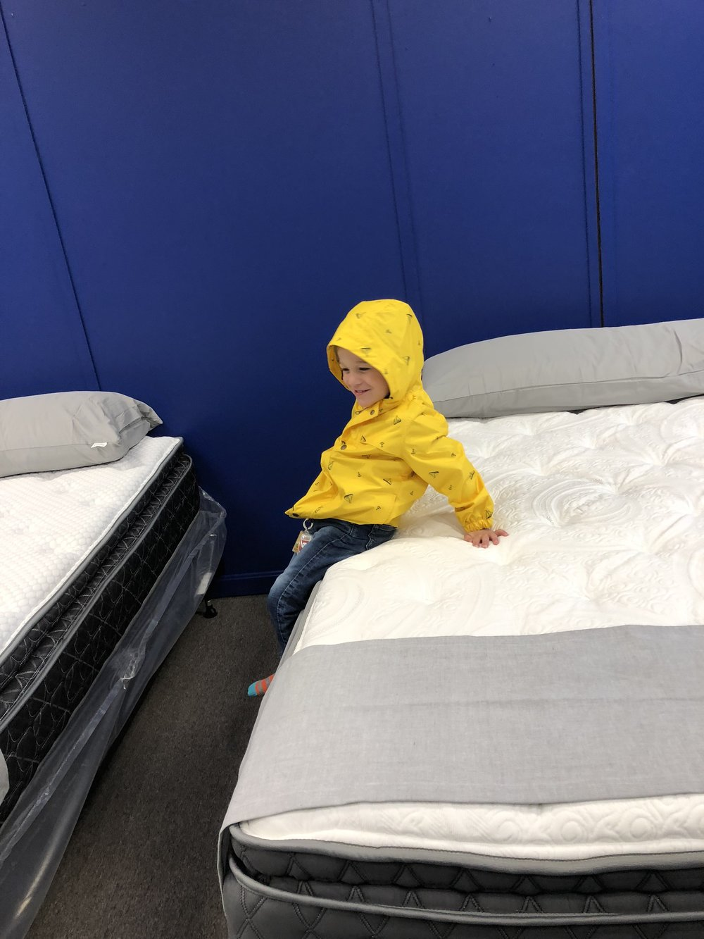 My son trying out daddy's beds!!!