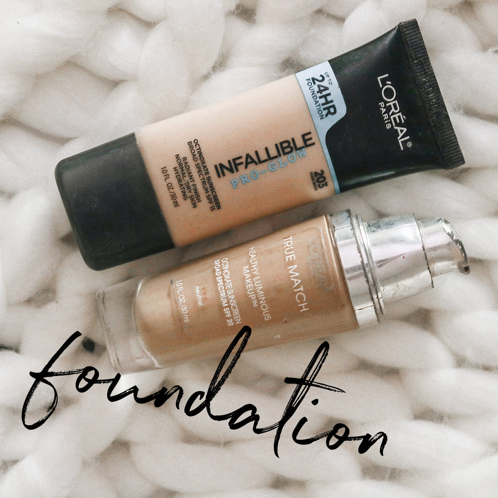 THE FOUNDATION   I use foundation so often that it doesn't make sense for me to purchase a high end one (girls gotta pay to eat somehow too lol). I've found that this drugstore L'Oréal is the best duo mix for me. Having dry-ish skin, I always reach for luminous finishes. I definitely notice my makeup lasting longer with the 24-hour foundation + I notice my skin looking like REAL SKIN with the lumi one. The spf in one of them is a must & it doesn't flash back in pics. This duo and yellow based tone is perfect for me.    Tips: mix together on back of hand/brush to evenly distribute the product.