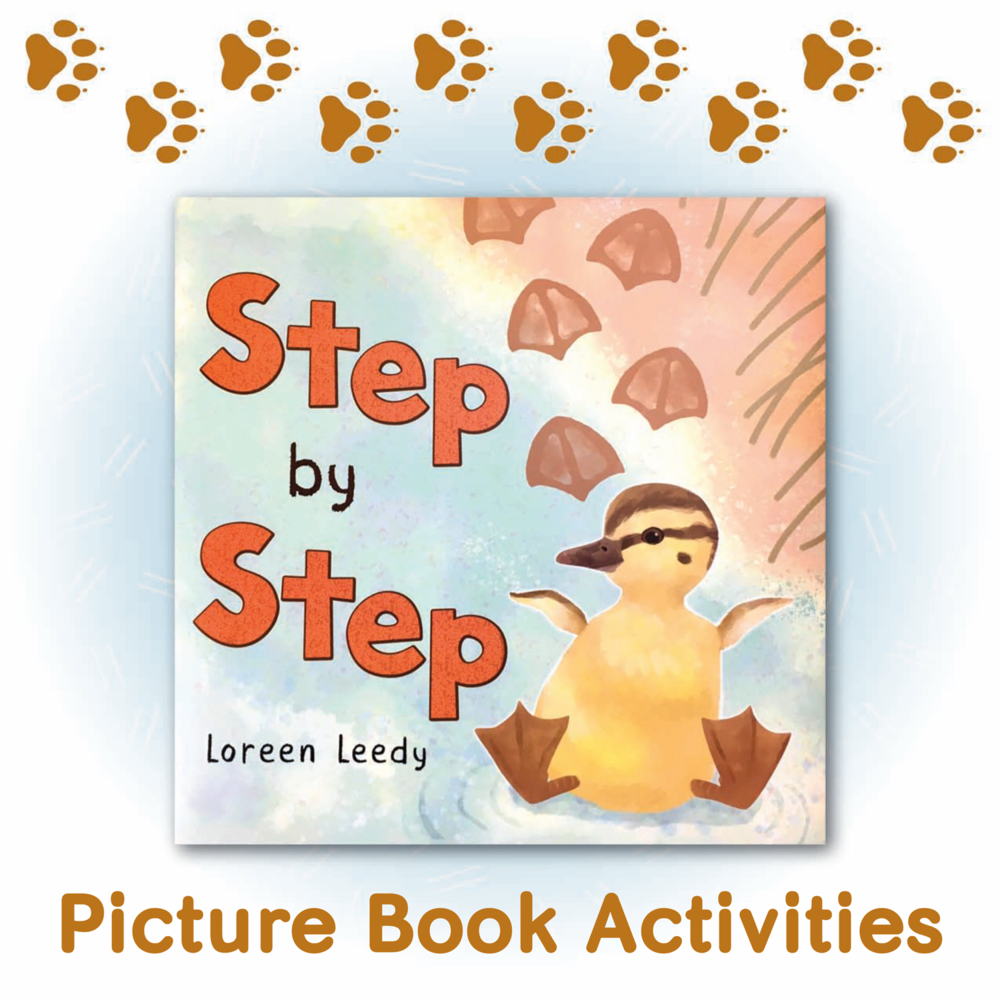 Click on the book cover to preview free activity pages for Step by Step, a picture book about baby animal tracks.