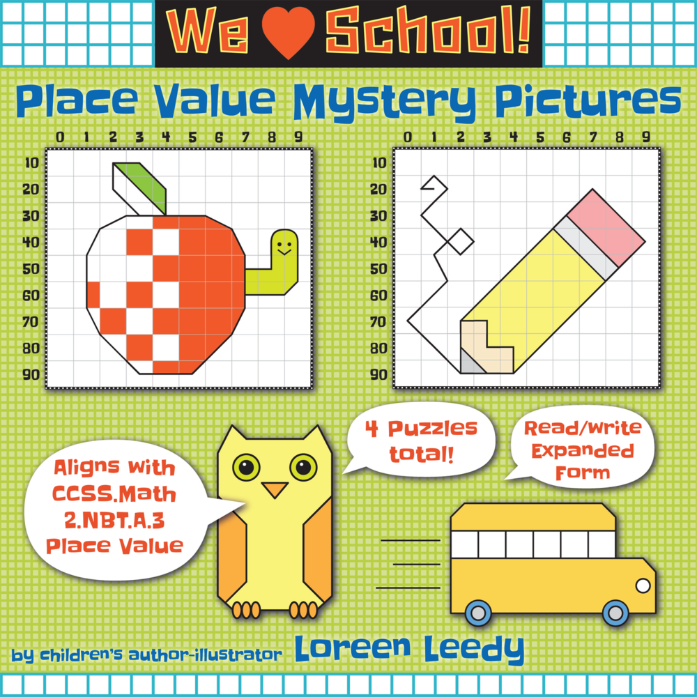 These expanded form place value puzzles have a school theme and are self-checking. Click image to preview.