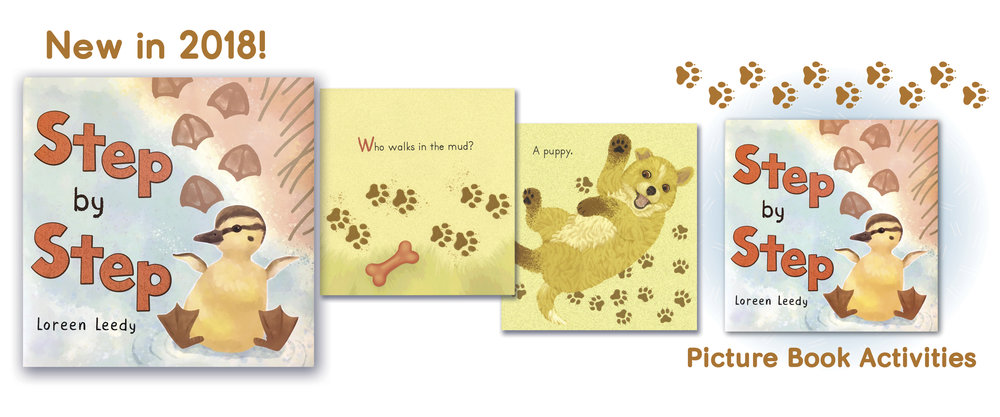 Cover and pages from  Step by Step , a book of baby animal  tracks. Click image to  get freebie pages in my TPT shop .