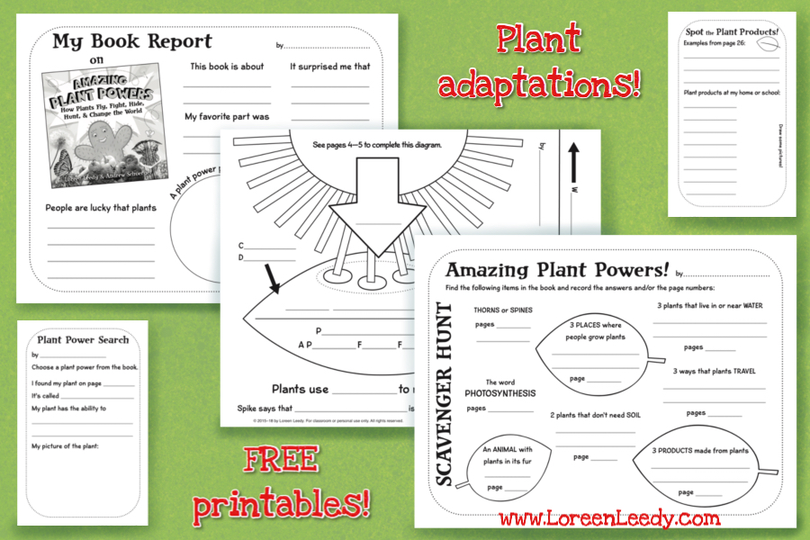 Click image to view FREE printable pages for Amazing Plant Powers.