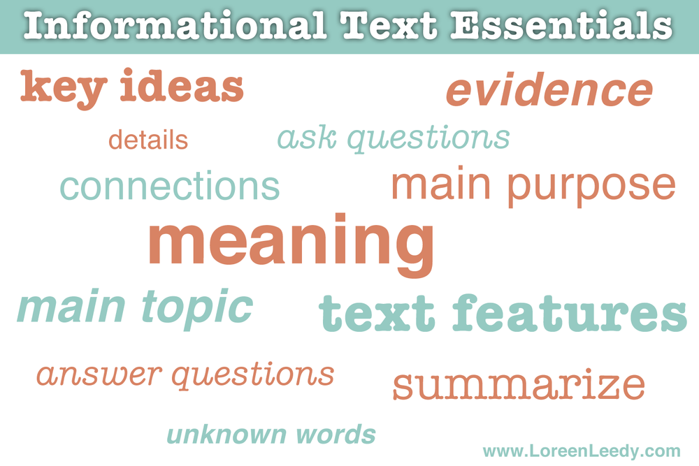 Students must be familiar with a number of concepts to effectively read and write informational text.