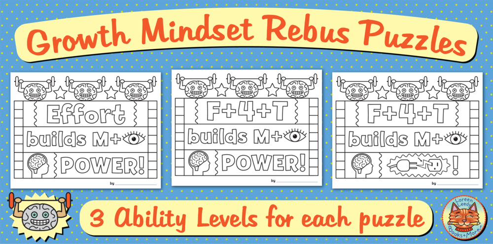 Choose from 3 ability levels for each growth mindset rebus puzzle (36 options in all).